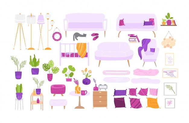 Скандинавский уютный интерьер комнаты - большая мебель и набор домашнего декора - кресло, стол, лампа, диван, подушка, настенная картина, растения в горшках -
