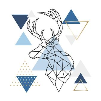 Scandinavian deer on an abstract background