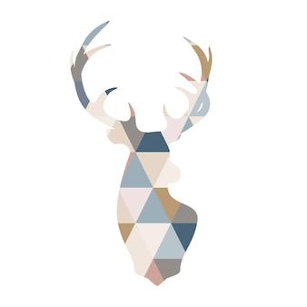 Scandinavian deer illustration in patchwork style