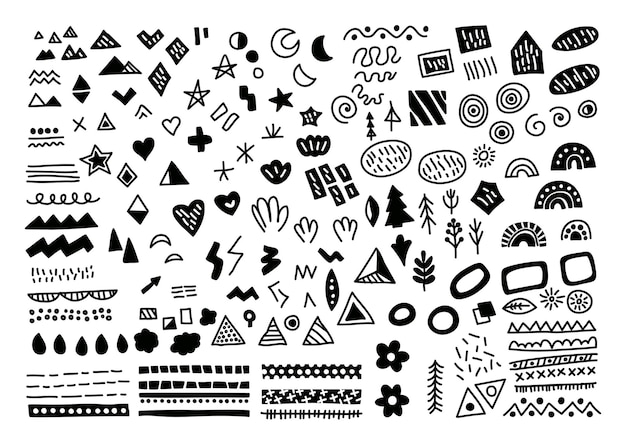 Scandinavian elements set. vector hand-drawn black and white set with leaves, arrows, hearts, dots, drops.