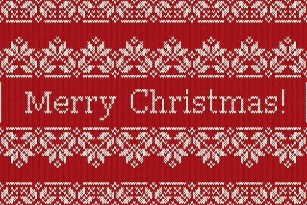 Скандинавский fair isle вязаный узор со снежинками и поздравительным текстом с рождеством. бесшовный вязаный фон