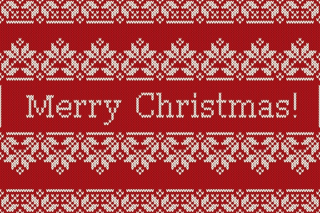 Scandinavian fair isle knitting pattern with snowflakes and greeting text merry christmas. seamless knitted background