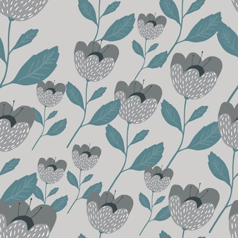 Скандинавские цветы бесшовные модели. красивые старинные текстуры ботаники.