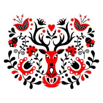 Scandinavian folk art ornament.