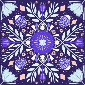 花とバグのスカンジナビアの民芸パターン