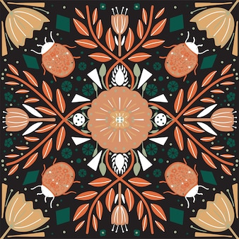 Scandinavian folk art pattern with flowers and bugs