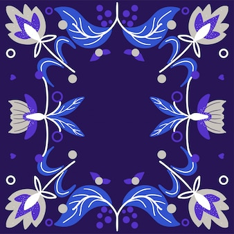 Scandinavian folk art pattern with  flowers