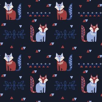 Scandinavian folk art seamless pattern with fox.