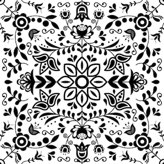 Scandinavian folk art seamless pattern.