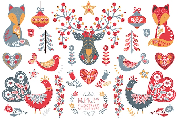 Scandinavian folk christmas  design collection set
