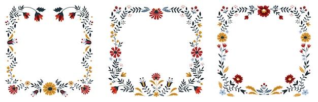 Scandinavian folk floral ornate frame.
