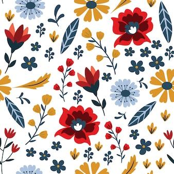スカンジナビアの民俗花柄シームレスパターン。モダンな手描きの生地デザイン。