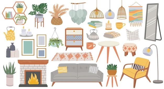 スカンジナビアの家具。居間のための居心地の良い家の家具。ヒュッゲスタイルの植物、ランプ、アームチェア、枕、ソファ。やかん、本、暖炉、絵画と自由奔放に生きるインテリアベクトルを設定します。