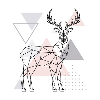 Scandinavian geometric deer, side view.