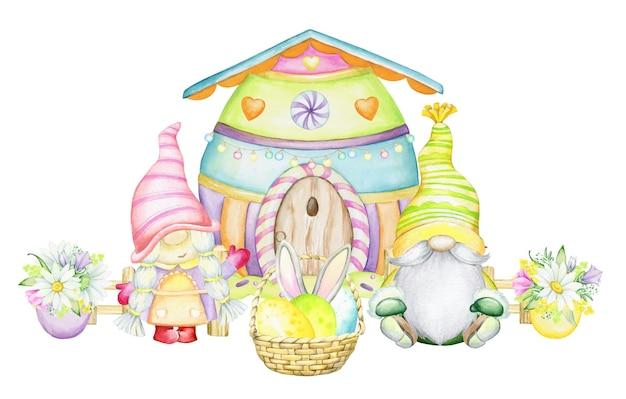 スカンジナビアのノーム、家、バスケット、イースターの卵、花。漫画風の水彩クリップアート、。