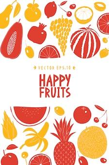 スカンジナビアの手描きフルーツデザインテンプレート。モノクログラフィック。果物の背景。リノカットスタイル。健康食品。ベクトル図