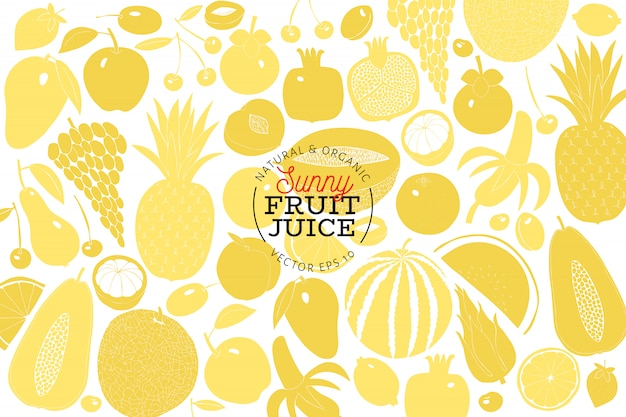 Scandinavian hand drawn fruit design template.