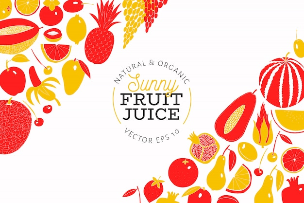 Scandinavian hand drawn fruit design template