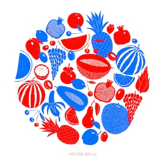 Scandinavian hand drawn fruit design. vector illustrations. linocut style. healthy food.