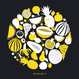 Scandinavian hand drawn fruit template.