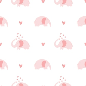 Scandinavian hand drawn vector seamless retro elephant with heart kids pattern wallpaper