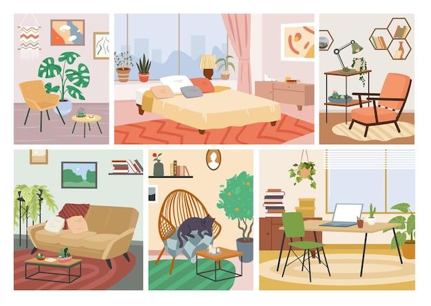 스칸디나비아 휘게 아늑한 집 인테리어 삽화 세트입니다. 만화 집 같은 편안한 홈 아파트