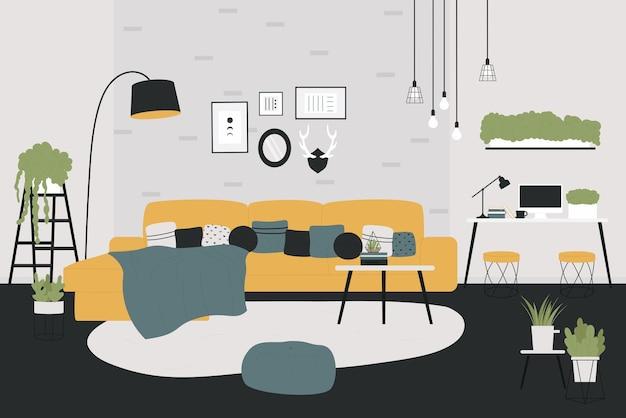 Scandinavian interior design for home apartment Premium Vector