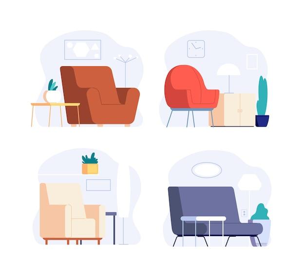 스칸디나비아 인테리어. 미니멀 한 객실 가구. 안락 의자, 그림, 식물이있는 귀여운 트렌디 한 라운지 존