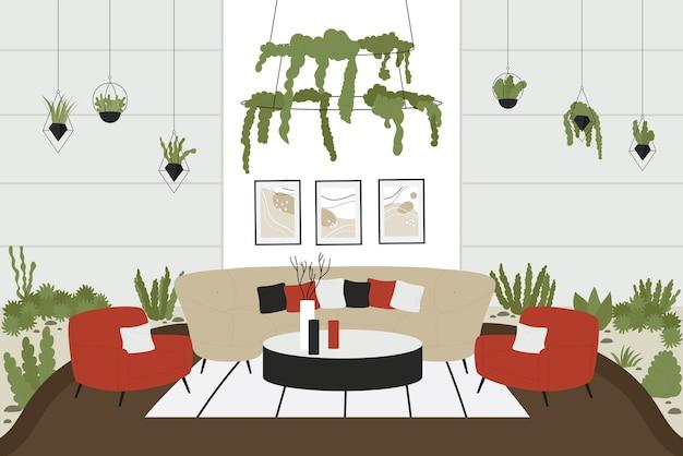 현대 집 그림의 스칸디나비아 인테리어입니다.