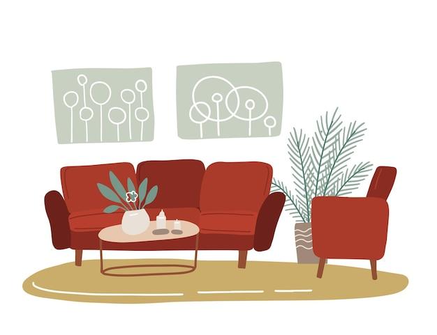 レトロなリビングルームのスカンジナビアのインテリア。トレンディなスカンディックヒュッゲスタイルで装飾された居心地の良いホームアパートメント-赤いソファ、アームチェア、壁の写真、緑の観葉植物。フラット手描きイラスト。