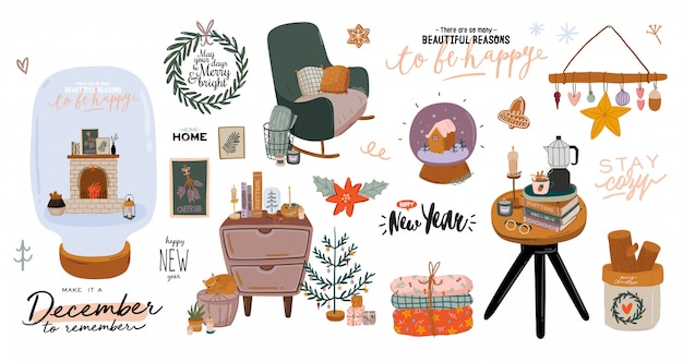 Scandinavian interior with december home decorations - wreath, cat, tree, gift, candles, table. cozy winter holiday season. cute illustration and christmas typography in hygge style. . .