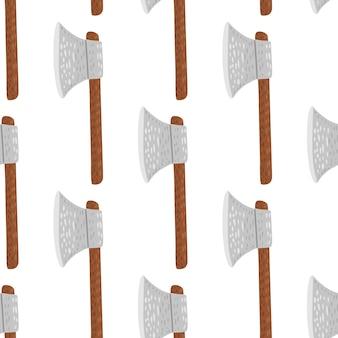 Скандинавский изолированный бесшовный образец со стилизованными элементами топора воина