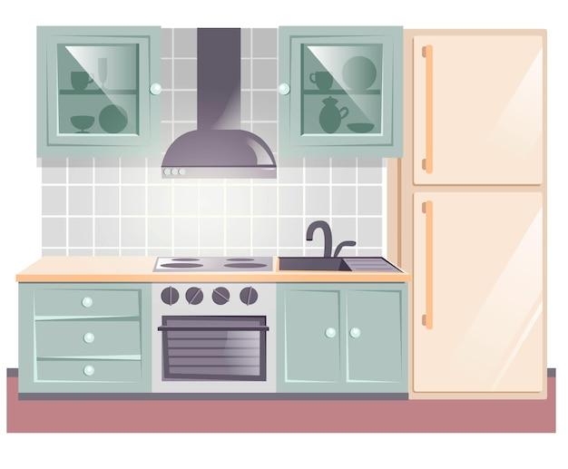 ダイニング家具付きのスカンジナビアのキッチンルームのインテリア。緑色の魅力的で豪華な部屋