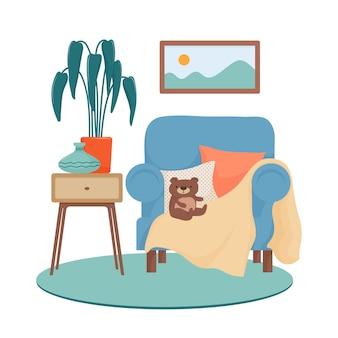 Скандинавский дизайн гостиной, большое кресло с подушками, плюшевый мишка, картина, ковер, тумбочка с комнатным растением и ваза, концепция уютных городских джунглей