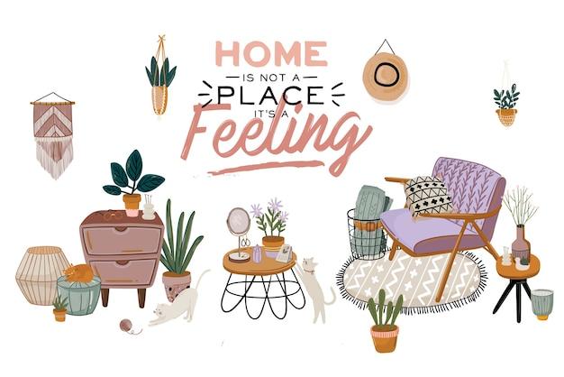 Скандинавский интерьер гостиной - диван, кресло, журнальный столик, растения в горшках, светильник, дом