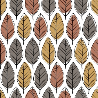 Scandinavian minimalist seamless pattern with hand drawn leaves. abstract spots and simple doodle lines in a pastel palette. background for textile, fabric, wrapper.
