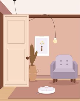 편안한 가구와 가정 장식이있는 스칸디나비아 미니멀리즘 보헤미안 인테리어