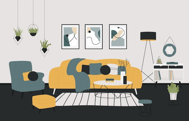 Scandinavian minimalistic style home cozy living room illustration.