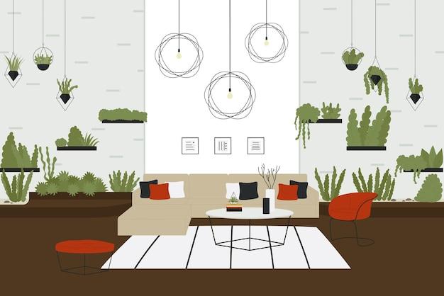 스칸디나비아 방 인테리어, 소파가있는 아늑한 집 가구 및 다양한 식물