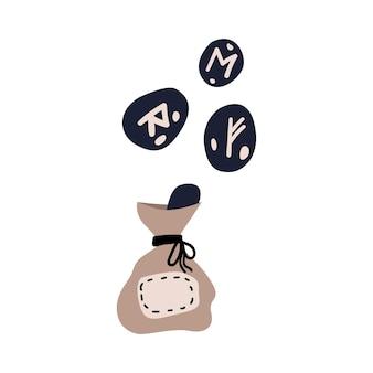 Scandinavian runes in a bag. vector illustration