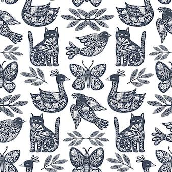 北欧デザインの動物とスカンジナビアのシームレスな民芸パターン。