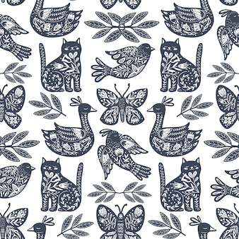 Scandinavian seamless folk art pattern with animals in nordic design.