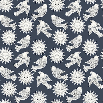 北欧デザインの鳥と太陽のスカンジナビアのシームレスな民芸パターン。