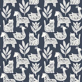 Scandinavian seamless folk art pattern with cute animals in nordic design.