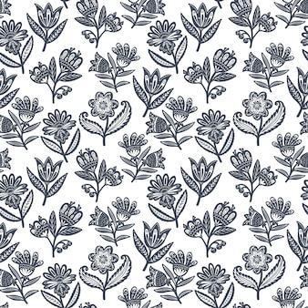 北欧デザインの装飾花と北欧のシームレスな民芸パターン。