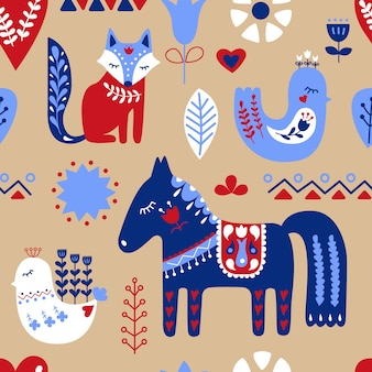 Scandinavian seamless folk art pattern.