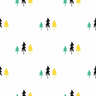Scandinavian seamless pattern of christmas tree.
