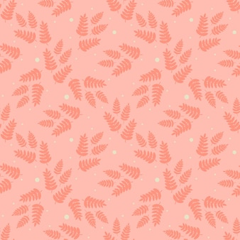 スカンジナビアのシームレスなパターン。暖かいオレンジ色の葉、枝、小枝。手描きフラットイラスト