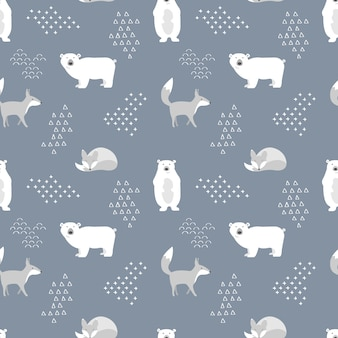 Scandinavian seamless pattern with bear and fox.