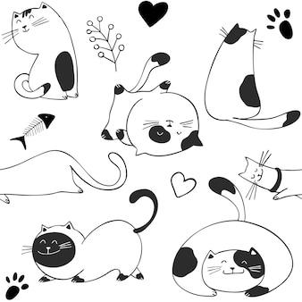 Scandinavian seamless pattern with cats